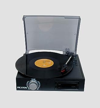 Prixton VC300 - Tocadiscos y Cassette con MP3 Convierte Vinilo, Color Negro: Amazon.es: Electrónica