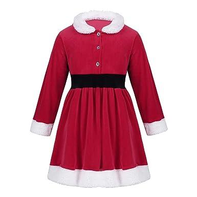 d4535a46a8419 Freebily Rouge Robe Noël Enfants Filles Robe de Princesse Cérémonie  Anniversaire Noël Fête Fille Robe Manteau