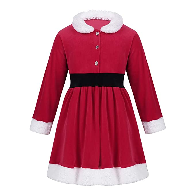 Amazon.com: Alvivi Girls Christmas Santa Claus Dress ...