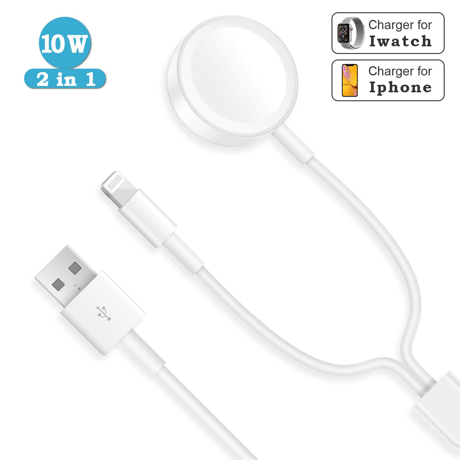 Watch Charger, 2 in 1 Phone Wireless Charger Compatible with Apple Watch Series 4/3/2/1 by CIVPOWER