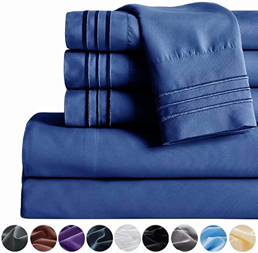 16 Deep Pocket Wrinkle Free /& Fade Resistant Navy Blue,Twin Egyptian Sheet Set Brushed Microfiber 1800 Thread Count Percale SAKIAO -4PC Twin Size Bed Sheets Set