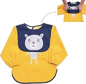 GRINETH Children Art Smock Toddler Bib ,Baby Smock Long Sleeve 1-3 Years Waterproof ,Washable Apron (Yellow-S)