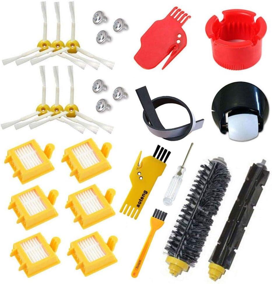 aotengou Rueda HEPA Fiters Kit para iRobot Roomba 700 Serie 760 770 780 790, Pincel de cerdas, Flexible Beater Cepillos 6-Armed 3-Armed Side Cepillo de Repuesto (A)