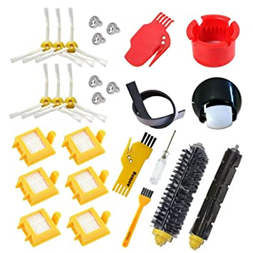 astor Rueda HEPA Fiters Kit para iRobot Roomba 700 serie 760 770 780 790, pincel de cerdas, flexible Beater Cepillos 6-Armed 3-Armed Side cepillo de ...