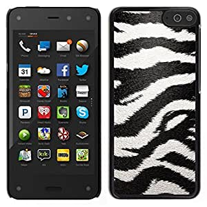 Caucho caso de Shell duro de la cubierta de accesorios de protección BY RAYDREAMMM - Amazon Fire Phone - Modelo de la cebra Arte Negro White Stripes