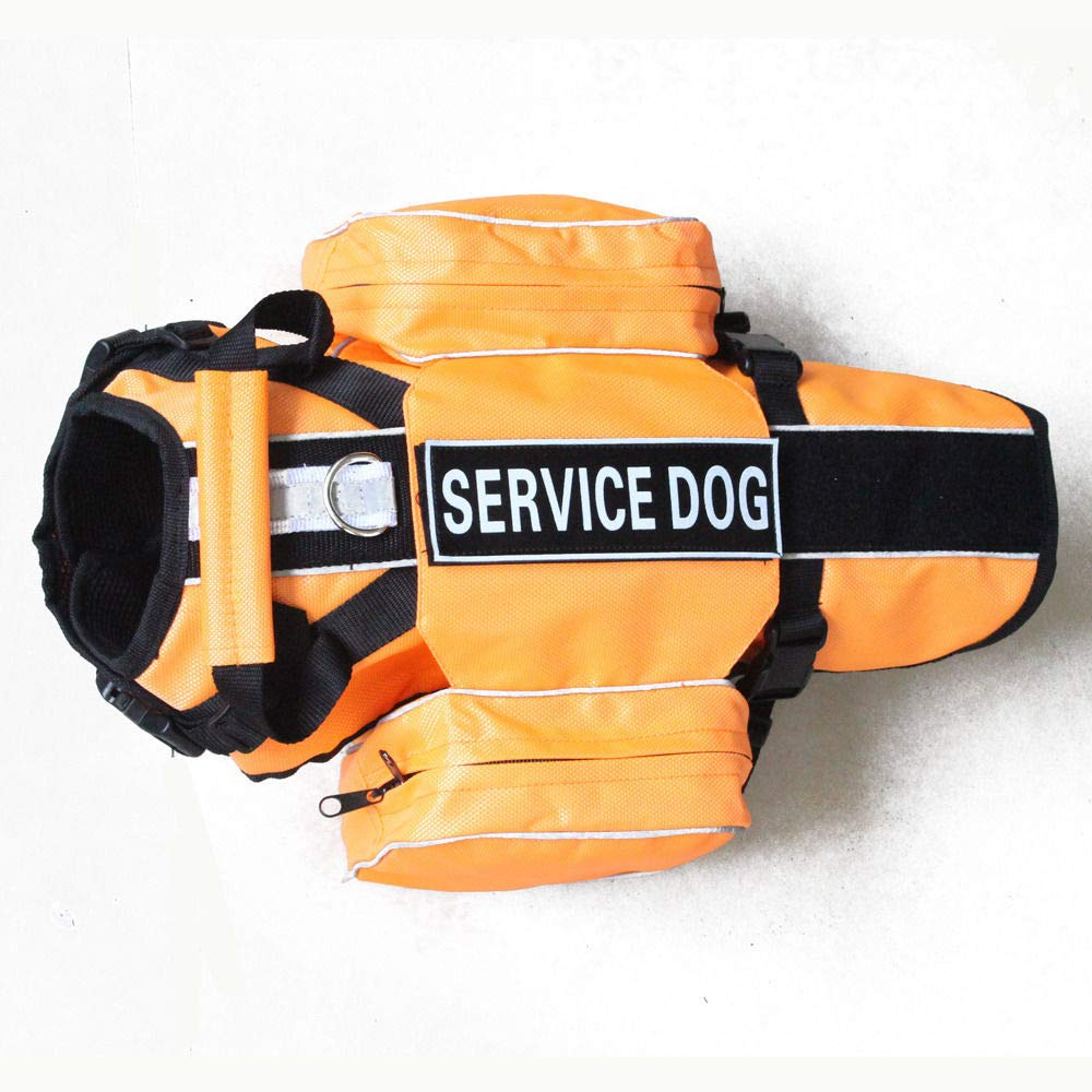 orange THERAPY DOG L Fits GIRTH 26 \ orange THERAPY DOG L Fits GIRTH 26 \ FidgetGear Service Dog Harness Vest 2 Patches with Removable Saddle Bags Pockets 5 colors orange L Fits Girth 26  31