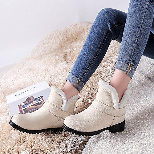 HSXZ - Botas de nieve para mujer, piel sintética, botas de invierno con talón grueso, botas redondas para dedos de los pies, botas de tobillo para oficina, vestido de carrera, color beige y negro beige