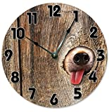 Lionkin8 Large 12″ Wall Clock Decorative Round Wall Clock Home Decor Novelty Clock DOG IN FENCE Review