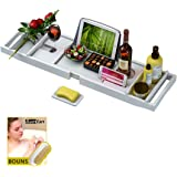 Bathtub Caddy Tray for Luxury Bath - Bamboo Waterproof Expandable Bath Table Over Tub with Wine and Book Holder and Free Soap Dish