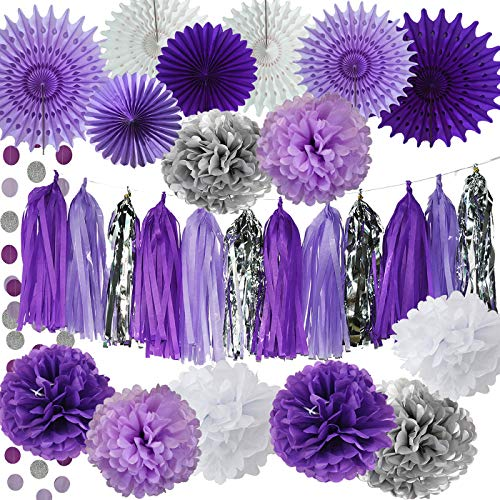 Bridal Shower Decorations Purple White Silver Tissue Pom Pom wth Amaranth Purple White Tissue Paper Fans for Lavender Baby Shower Decorations/Purple Birthday Party Decorations ()