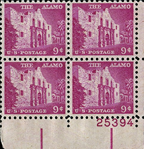 The Alamo #1043 Plate Block of 4 x 9¢ US Postage (4 Stamp Plate)