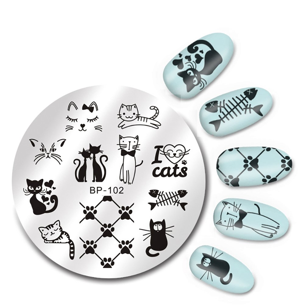 Born Pretty Nail Art Stamping Plate Cute Cats Image Plate BP-102 5.5cm Round