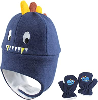 Kids Winter Fleece Knit Hats Toddler Earflap Protective Cartoon Dinosaur Caps US