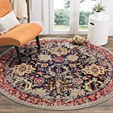Cheap Safavieh Monaco Collection MNC206G Modern Abstract Oriental Grey and Multi Distressed Round Area Rug (5′ in Diameter)