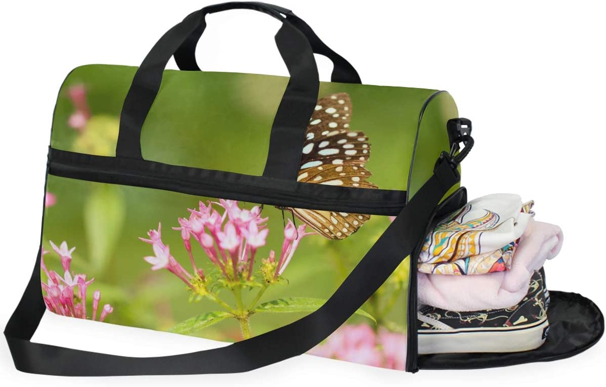 FAJRO Duffle Bag for Women Men Butterfly On Flower Travel Duffel Bag Large Size Water-proof Tear Resistant