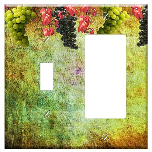1-Toggle 1-Rocker/GFCI Combination Wall Plate Cover - Grapes Wine Autumn Background Bulletin ()