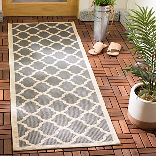 Safavieh Courtyard Collection CY6903-246 Anthracite and Beige Indoor/ Outdoor Runner (2'3