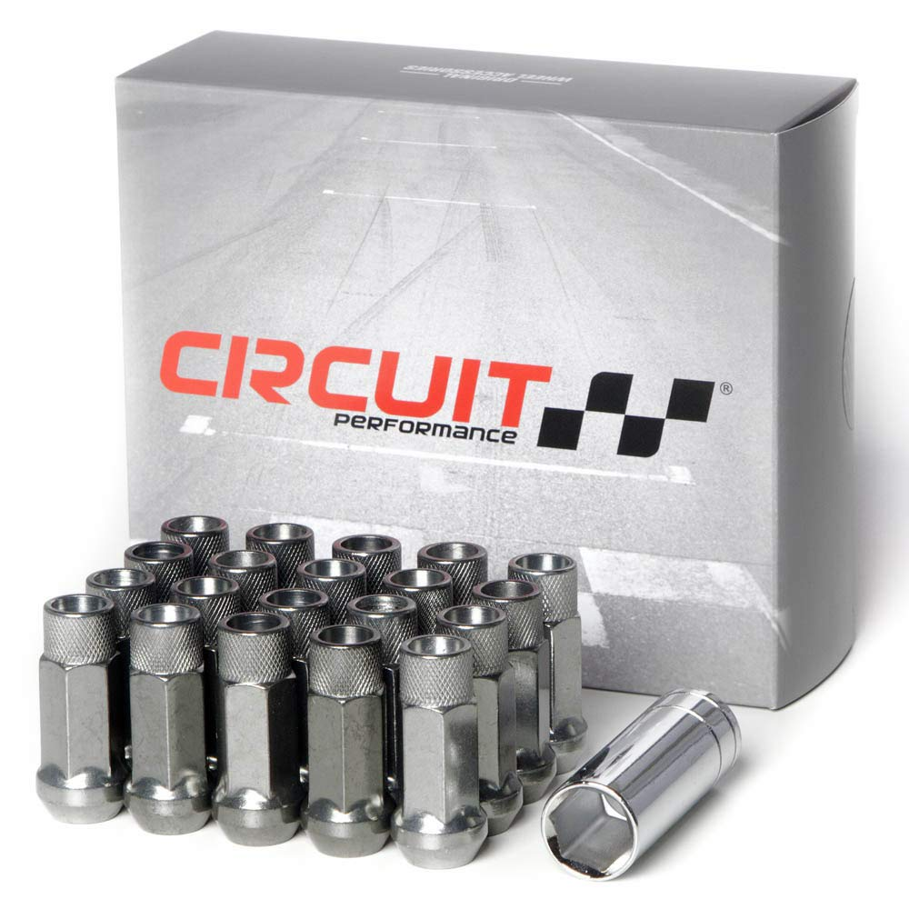 12x1.25 Hyper Black 20 Piece Set Tool Circuit Performance Forged Steel Extended Open End Hex Lug Nut Aftermarket Wheels