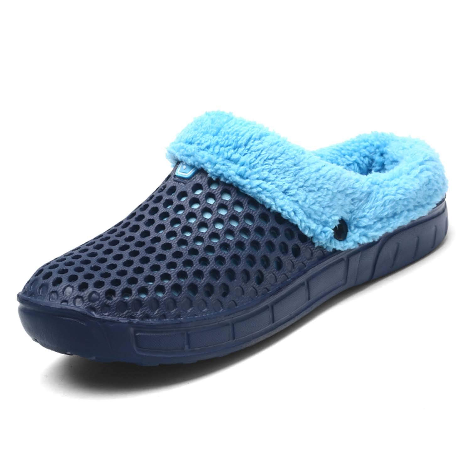 HMAIBO Men's Fur Lined Clogs House Slippers Winter Breathable Indoor Outdoor Walking Garden Shoes Warm Non-Slip Mule Footwear Blue 44