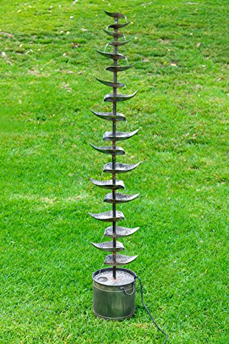 Alpine Corporation Metal Siler Tiered Floor Fountain - Indoor/Outdoor Water Fountain for Garden, Entryway, Patio, Yard (Wall Modern Outdoor Fountain)