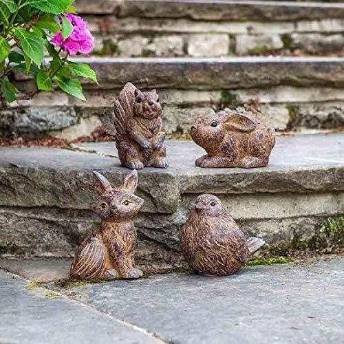 garden mile® - Juego de 4 Figuras de Animales del Bosque para jardín, Adorno y esculturas para Patios, estanques, Conejos, Zorros, pájaros, Ardillas: Amazon.es: Jardín