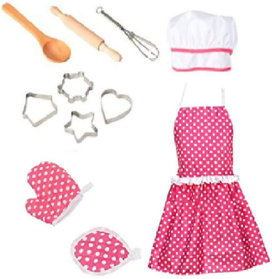 11Pcs Toddler Apron and Chef Hat Girl Dress Up Chef Costume Career Role Play Auch Cute Kids Cooking and Baking Set Pretend Play Kitchen Make and Bake Cookies Kit Gift
