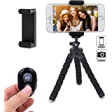 Linkcool Flexible Phone Tripod, Portable and Adjustable iPhone Tripod Stand Holder with Universal Clip and Bluetooth Remote, Tripod for iPhone, Android Phone, Any Smartphone, Camera and Go Pro