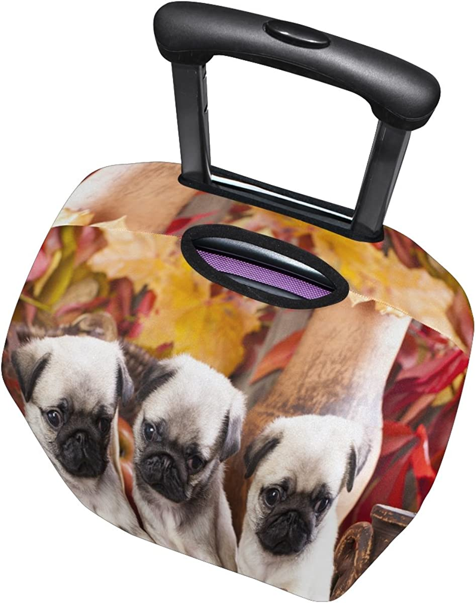 ALAZA Pug Puppy Maple Leaf Travel Luggage Cover Suitcase Cover Case