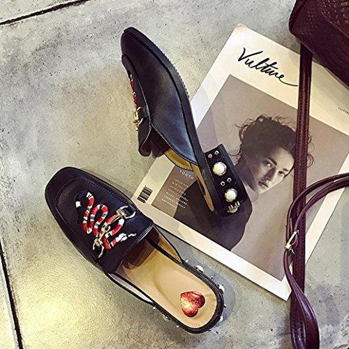DM&Y 2017 Abeja Sra bordado zapatos de primavera y verano sandalias de Baotou semi remolque con perlas en los zapatos de la marea de solteros Snake
