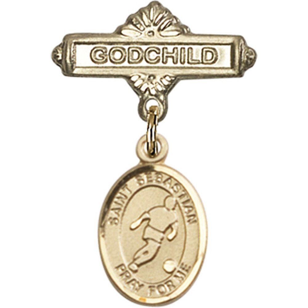14Kt Yellow Gold Baby Badge mit St. Sebastian/Soccer Charm und Godchild Badge Pin 1 X 5/8 Inches