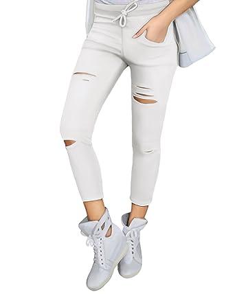 Yidarton Damen Loch Hose Zerrissen Jeans Risse am Knie High