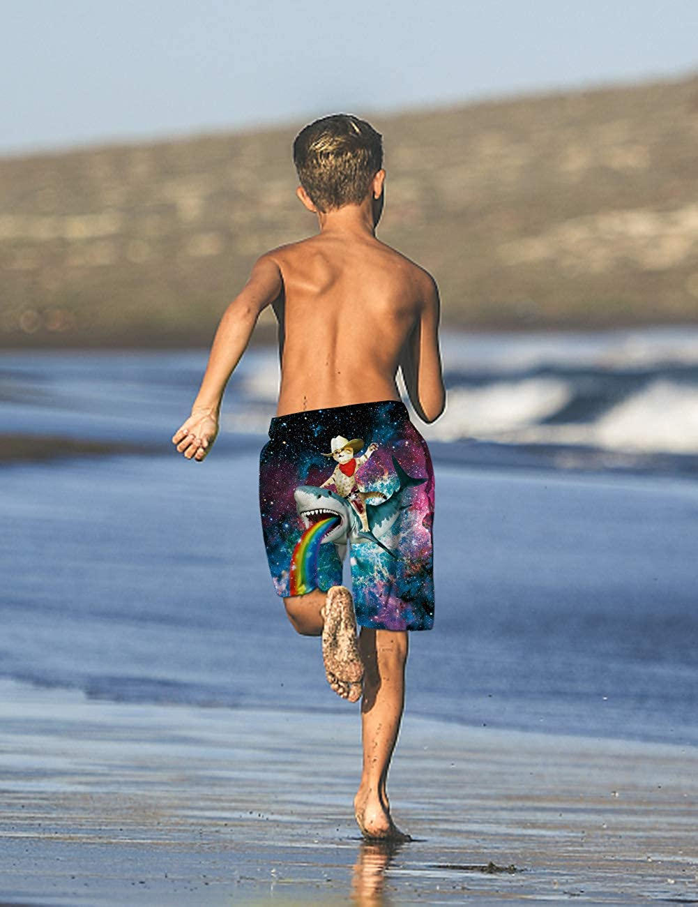 ALISISTER Boys Swim Trunks Toddler Beach Shorts Boardshorts with Pockets Elastic Drawstring Quick Dry 5-14 Years Old
