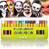 UNEEDE Face Painting Crayons 16 Bright Colors Safety Body Paint Sticks Easy on Tatoo Paint Crayons for Toddlers,Kids,Children as Party Favors,Non Toxic,16Pack,Holiday Essentials Gift for Kids