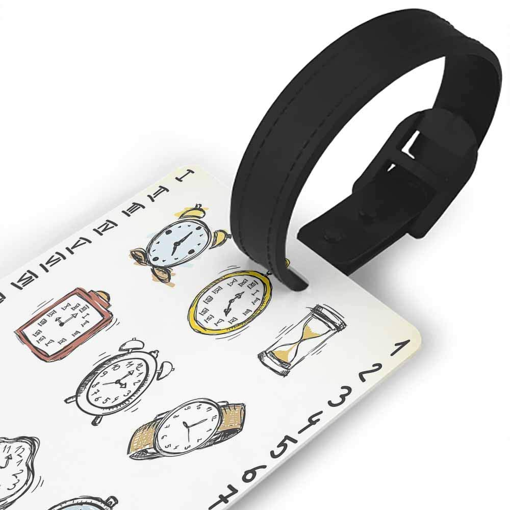 Funny luggage tag,City,Street in Paris Cafe Illustration Holiday Theme Summer Season Eating Drinking Cartoon,Holders Zip Seal /& Steel Loops Thick Multicolor