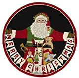 Peking Handicraft Santa Christmas Area Rug Pillow, Red/Black