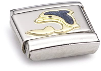 Nomination Composable Classic Water Animals Dolphin Stainless Steel, Enamel and 18K Gold