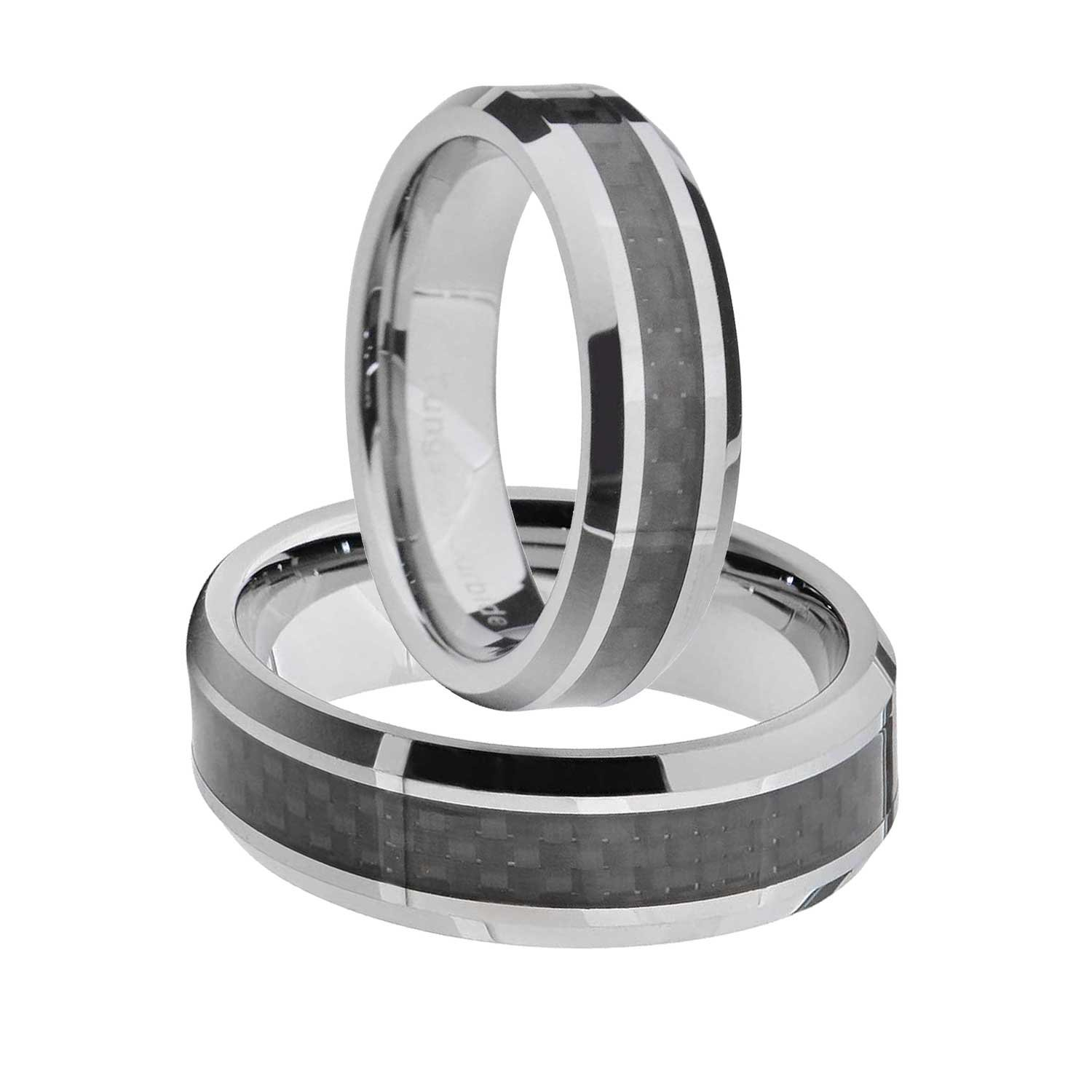 Tungsten His & Hers Engagement & Wedding Ring Sets Black Carbon Fibre Bevel Edge