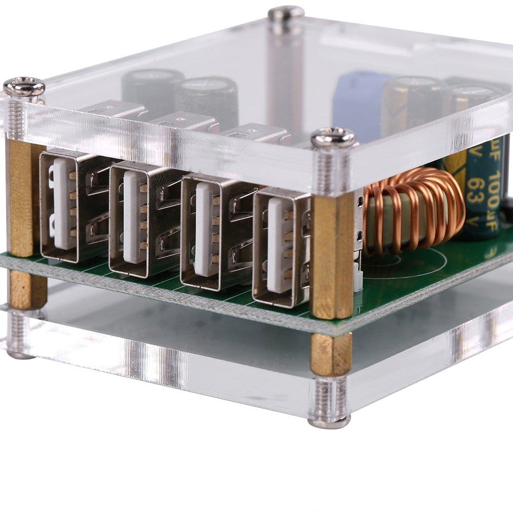 Akozon Convertidor de Potencia, Multifunción Inversor de Coche DC-DC 7-60V a 5V 5A 4USB Salida Buck Fuente de Alimentación del Regulador de Voltaje: ...