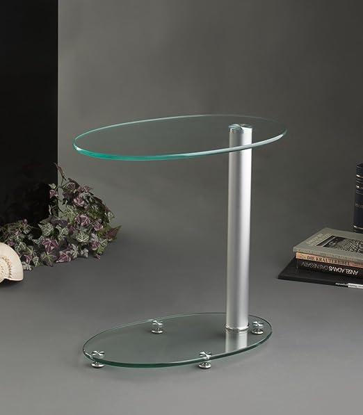 Tavolini Di Vetro Design.Agionda Olaf Tavolino Ovale Di Vetro Design Amazon It Casa E