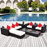 Festnight Outdoor Furniture Set 7 Piece Rattan Wicker Sofa Furniture Set Cushion Aluminum Frame