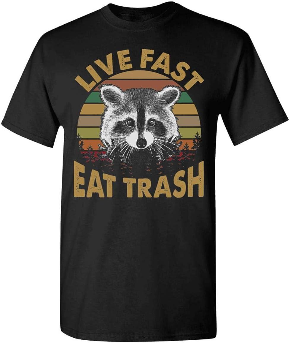 Raccoon Vintage Live Fast Eat Trash Gildan T-Shirt Black Size S-5XL Birthday ...