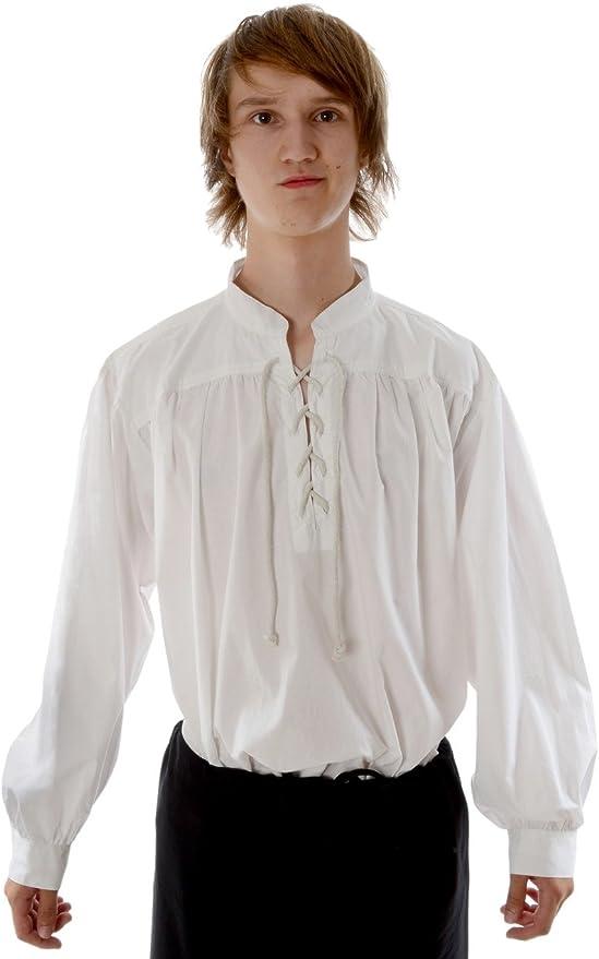 HEMAD - Camisa medieval pirata para hombre - Cuello alto, encaje delantero, algodón ligero - S-XXXL Blanco y Negro: Amazon.es: Ropa y accesorios