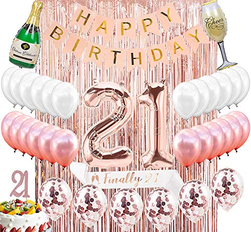 21st Birthday Decorations Party Supplies Kit - 21st Birthday Gifts for her,21 Cake Topper|Banner|sash|Rose Gold Curtain Backdrop Props|Confetti Balloons|Champagne Balloon|Latex Balloon.
