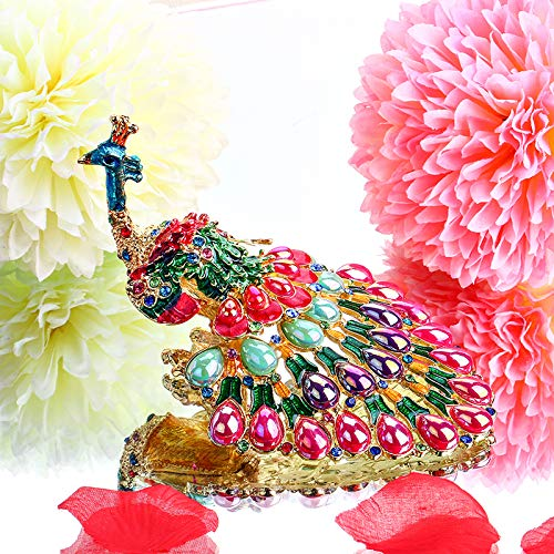 (HJ Lopez Figurines & Miniatures | Peacock Trinket Box Hinged Ring Holder Small Jewelry Bejeweled Trinket Boxes Figurine Collectible Gift (Trinket Box))