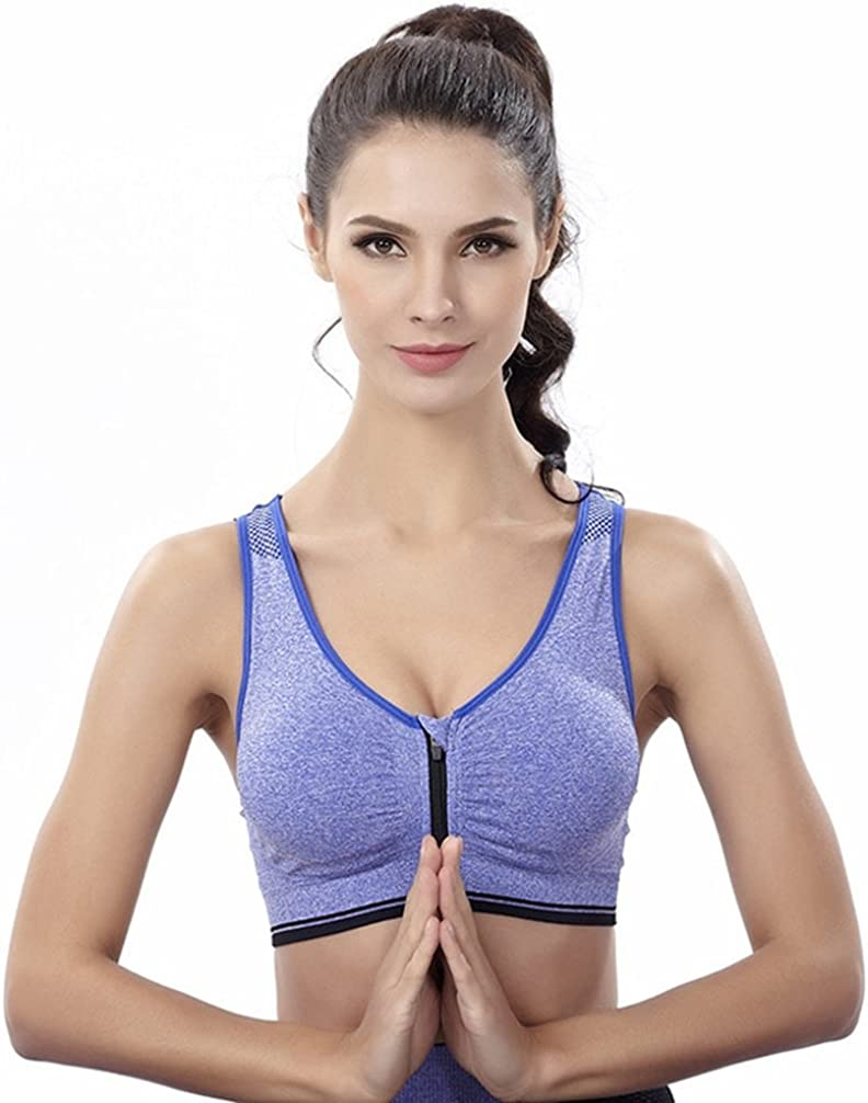 Womens Front Zipper Closure Sports Bra High Impact Support Racerback Workout Bras