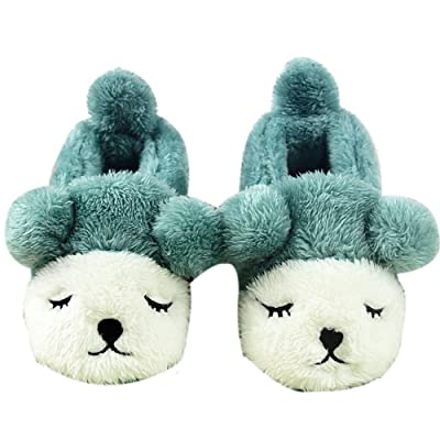 Autumn And Winter Home Children's Anti-slip Fluffy Slippers, green and white