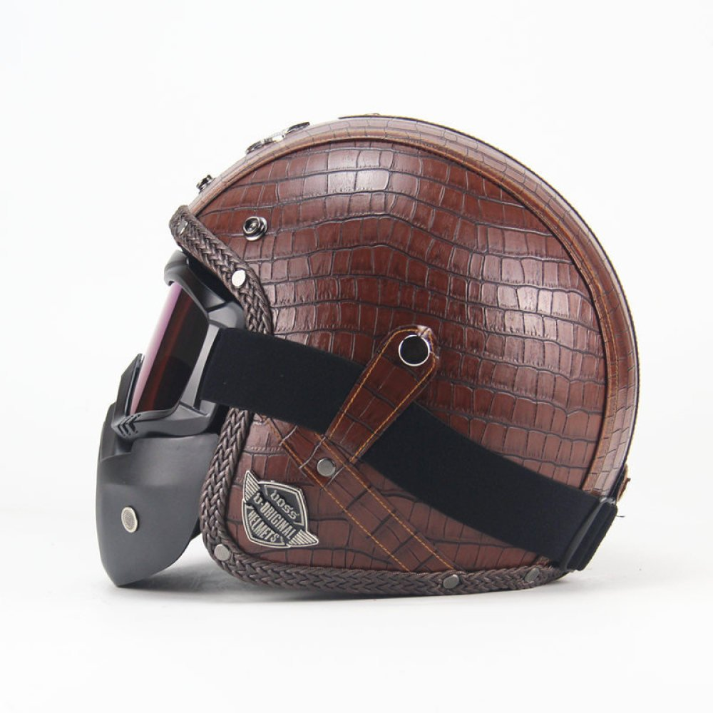 LI DANNA Retro Helm Handmade Harley Helm Motorrad 3//4 Lederhelm Halbhelm M/änner Und Frauen,A- M:57CM-58CM