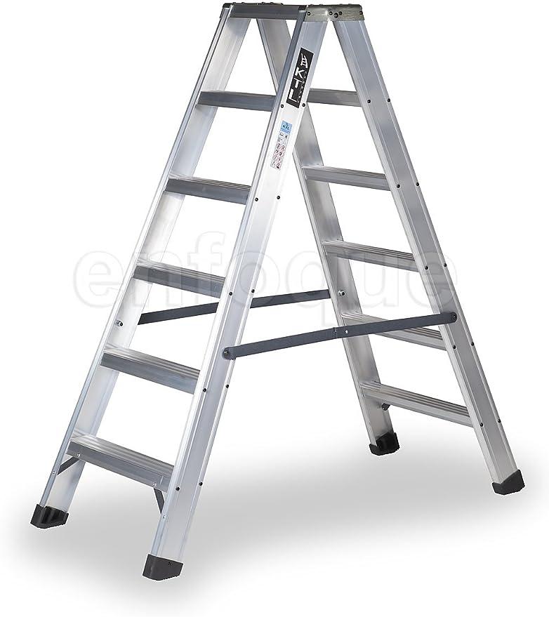 Escalera industrial de aluminio tijera doble acceso 2 x 6 peldaños sin asa serie new comfort: Amazon.es: Hogar