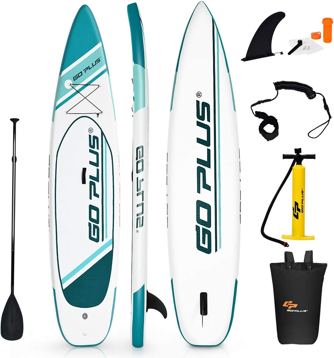 Goplus 11ft Expedition Inflatable Stand Up Paddle Board, 6 Thick SUP with Accessory Pack, Adjustable Paddle, Carry Bag, Bottom Fin, Hand Pump, Non-Slip Deck, Leash and Repair Kit