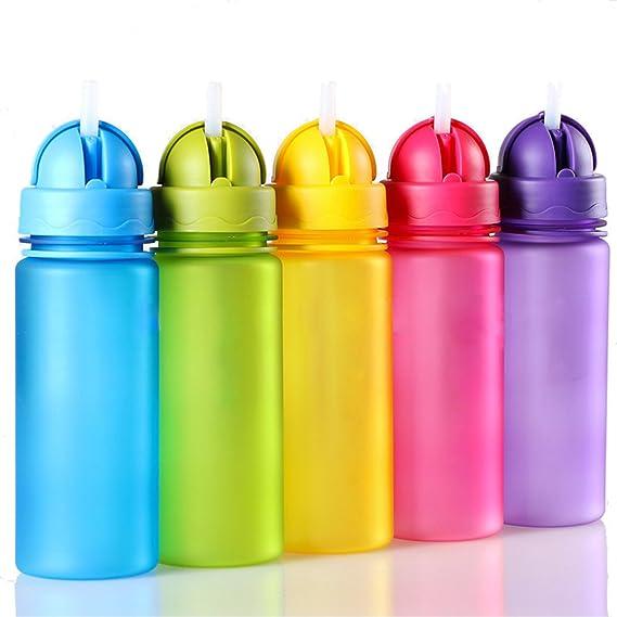 trinkflassche para niños Botella de agua 400 ml plástico Solapa Sin BPA caño botellas seguro para niños, escuela, Correr, bicicleta y actividades al aire ...
